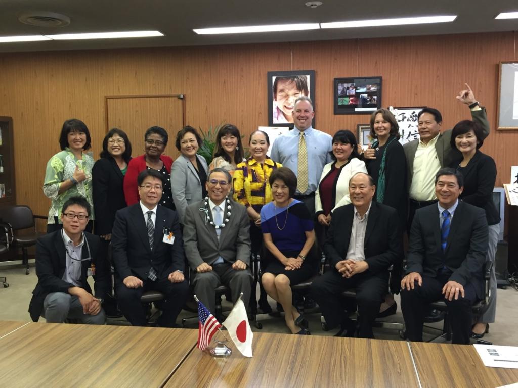 ハワイ州代表訪問団通訳として 広島県教育委員会を訪問